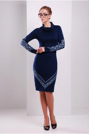 Сукня «Любомила» синього кольору – з орнаментом 3d59eb2e0a9f1