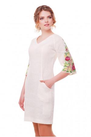 Платье «Пионы» молочного цвета