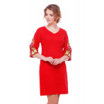 Платье «Пионы» красного цвета