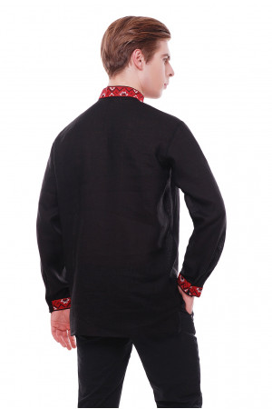 Вишиванка «Світозар» чорного кольору з червоно-бордовим орнаментом