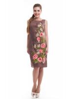 Платье «Ромашковое поле» коричневого цвета