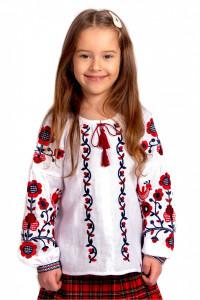 Вышиванка для девочки «Юстинка» белого цвета с красно-черной вышивкой