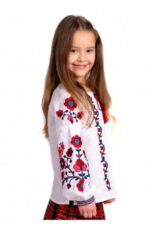 Вишиванка для дівчинки «Юстинка» білого кольору з червоно-чорного вишивкою