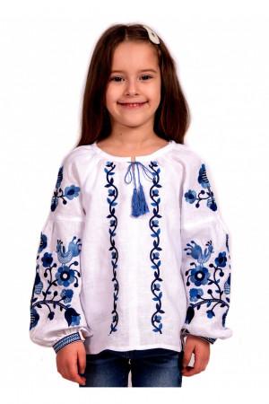 Вышиванка для девочки «Юстинка» белого цвета с сине-голубой вышивкой