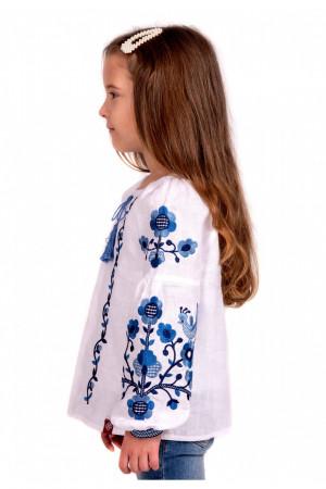 Вишиванка для дівчинки «Юстинка» білого кольору з синьо-блакитною вишивкою