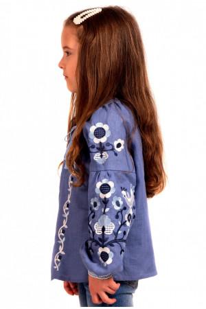 Вышиванка для девочки «Юстинка» серо-синего цвета