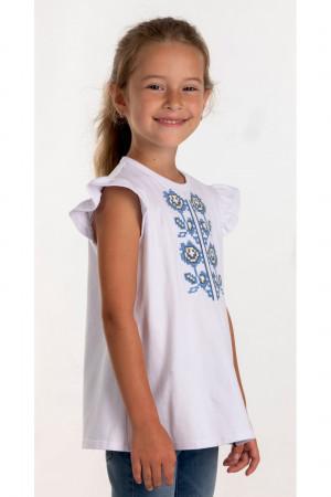 Футболка для дівчинки «Іванка» білого кольору з блакитною вишивкою