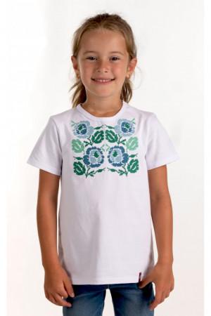 Футболка для дівчинки «Каринка» білого кольору з синьо-зеленою вишивкою