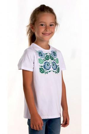 Футболка для девочки «Каринка» белого цвета с сине-зеленой вышивкой