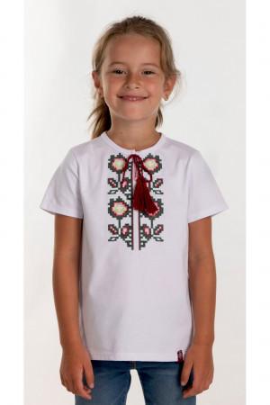 Футболка для дівчинки «Соломія» білого кольору з бордовою вишивкою