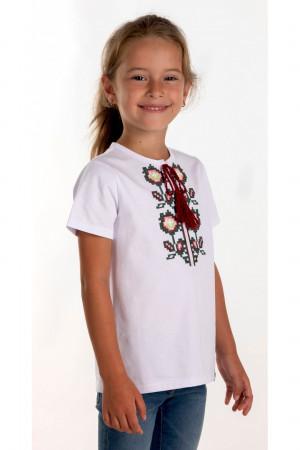 Футболка для девочки «Соломия» белого цвета с бордовой вышивкой