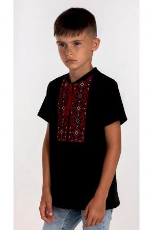 Футболка для мальчика «Устин» черного цвета красной вышивкой