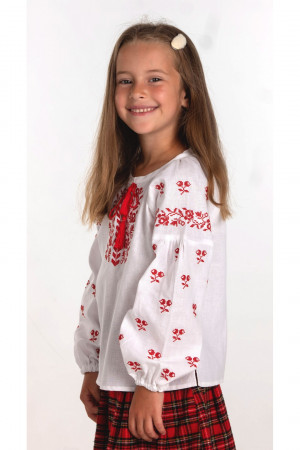Вишиванка для дівчинки «Софія» білого кольору з червоною вишивкою