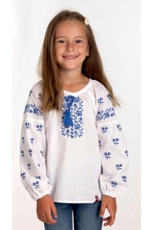 Вишиванка для дівчинки «Софія» білого кольору з блакитною вишивкою