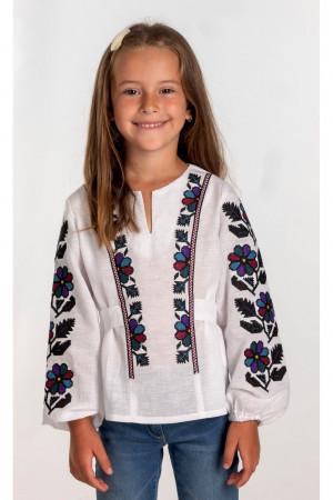 Вышиванка для девочки «Маланочка» белого цвета