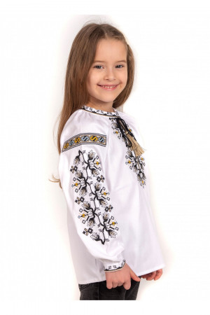 Вишиванка для дівчинки «Деля» білого кольору