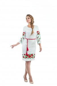 Платье «Маковая роса» на льне бежевого цвета