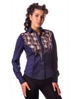 Блуза «Зара» темно-синего цвета