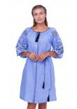 Сукня «Іванна» блакитного кольору з чорно-білою вишивкою