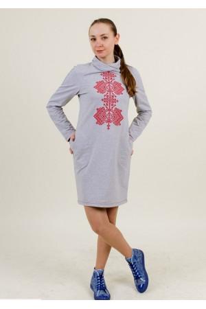 Платье «Гердан» светло-серого цвета с красным орнаментом