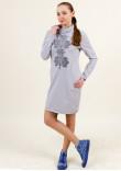 Сукня «Гердан» світло-сірого кольору з графітовим орнаментом