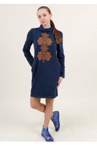 Платье «Гердан» темно-синего цвета с терракотовым орнаментом