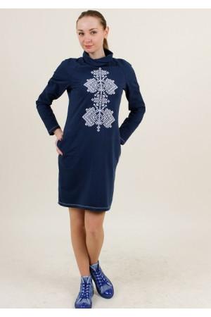 Платье «Гердан» темно-синего цвета с бело-серым орнаментом