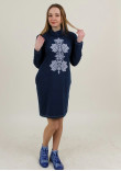 Сукня «Гердан» темно-синього кольору з біло-сірим орнаментом