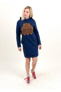 Сукня «Живиця» темно-синього кольору з теракотовим орнаментом