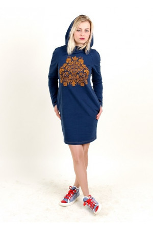 Платье «Живица» темно-синего цвета с терракотовым орнаментом