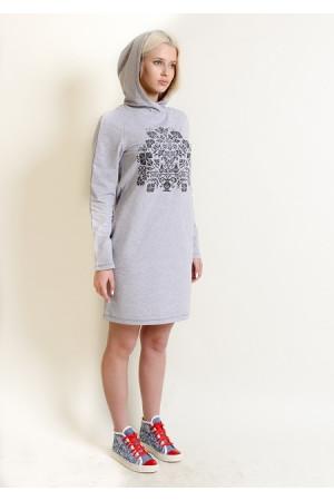 Сукня «Живиця» світло-сірого кольору з темно-сірим орнаментом