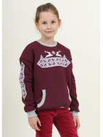Свитшот для девочки «Рождественская звезда» бордового цвета