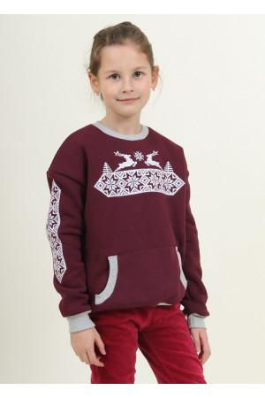 dee17488fc8818 Світшот для дівчинки «Різдвяна зірка» бордового кольору – купити у ...