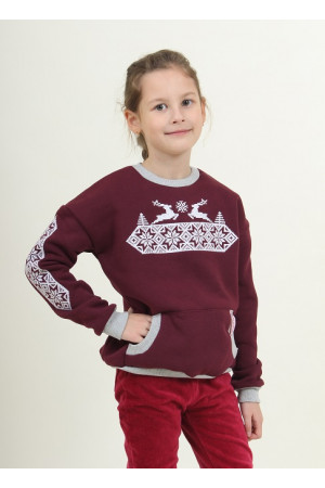 Світшот для дівчинки «Різдвяна зірка» бордового кольору