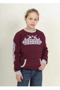 Свитшот для мальчика «Рождественская звезда» бордового цвета
