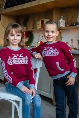Дитячий світшот «Різдвяна зірка» бордового кольору