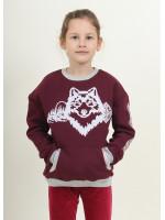 Свитшот для девочки «Зимняя история» бордового цвета