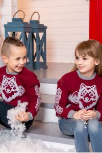 Дитячий світшот «Зимова історія» бордового кольору