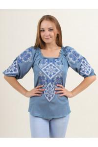 Вышиванка «Говерла» голубого цвета с сине-белой вышивкой
