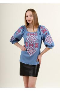 Вишиванка «Говерла» блакитного кольору з червоно-білою вишивкою