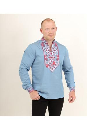 Чоловіча вишиванка «Говерла» блакитного кольору з червоно-білою вишивкою