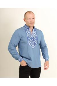 Мужская вышиванка «Говерла» цвета джинс с сине-белой вышивкой