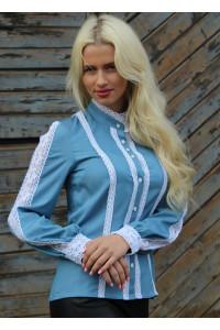 Блуза «Мережка» голубого цвета