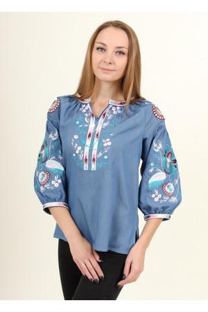 Вышиванка «Диброва» голубого цвета