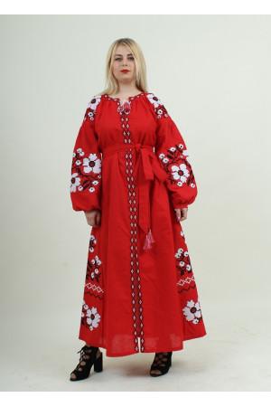 Платье «Парижский букет» красного цвета