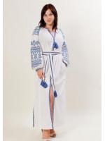 Платье «Злата» с голубым орнаментом