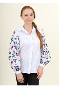 Вишиванка «Нескорена» білого кольору з червоними квітами