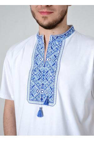 Футболка «Традиция» белого цвета с сине-голубым орнаментом КР