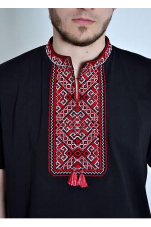 Футболка «Традиція» чорного кольору з червоно-білим орнаментом КР