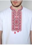 Футболка «Традиція» білого кольору з червоно-чорним орнаментом КР